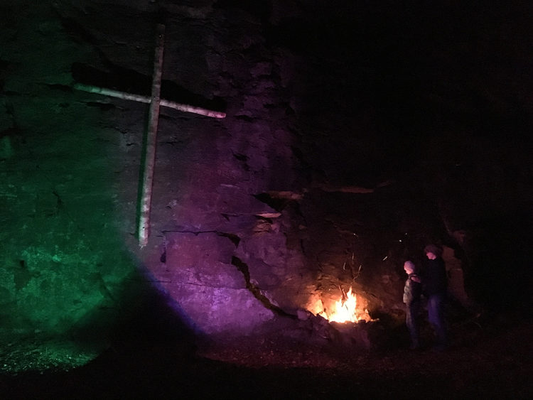Ringelfelsen mit Neujahrsfeuer
